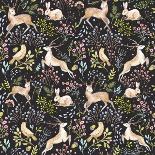 by Lord Twig  'Woodland Tapestry' by Lord Twig recreates a medieval tapestry of woodland animals on a rich charcoal background.  click here if you wish to order samples  easy paste the wall application pattern repeat 20 in roll width 20.5 in, length 33 ft  coverage 56 sq ft