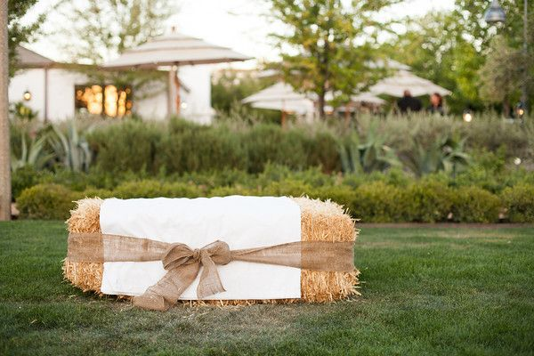 fabric covered hay bails for lounge area