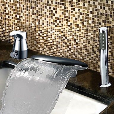 Chrome Finish Contemporary Widespread Waterfall Two Handles Tub Tap With Handshower