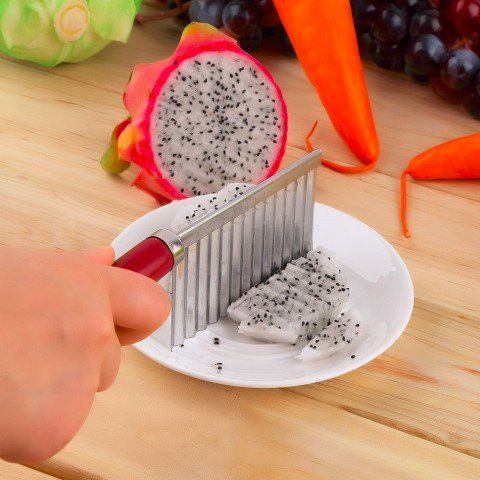 """Cool Tool,  NOW Make your own """"FRIES"""" Great Gadget!  Wavy Crinkle Cut Kitchen Knife Potato Chip Cutter French Fry Cutter Kitchen potato slicer Fruit Vegetable Peeler Kitchen Knife"""