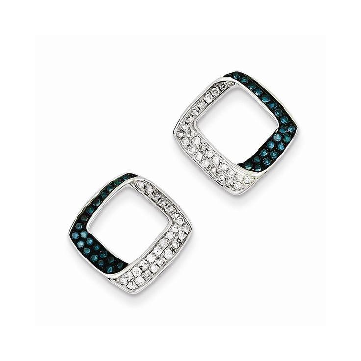 Sterling Silver White & Blue Diamond Square Post Earrings
