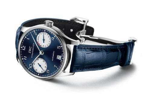 IWC Laureus Portuguese Auto 2009. Fourth watch in the series. Blue dial. IWC5001 7-day reserve auto mvmt.