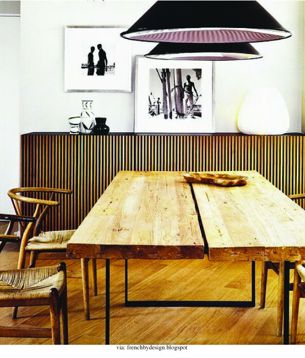 Great Wood Table And Sideboard With Black Pendant Lights In The Dining Room Design Idea For A Similar