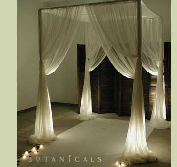 etherial white and candle lit chuppah / wedding ceremony for indoor wedding. Could be very pretty with a bit of flowers