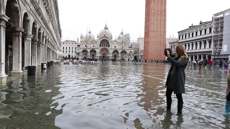 SAN MARCO SQUARE, VENICE-13 NOVEMBER 2016: High water to San Marco square in Venice, ITALY
