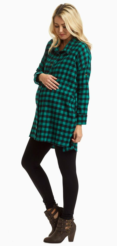 A trendy plaid flannel button up maternity top perfect for the cold months ahead. Wear this button up with maternity leggings and boots for a complete look.
