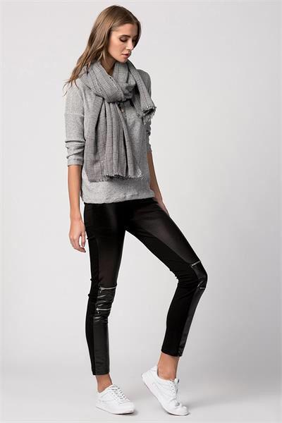 FERMUARLI DERİ GÖRÜNÜMLÜ TAYT PANTOLON  www.fashionturca.com
