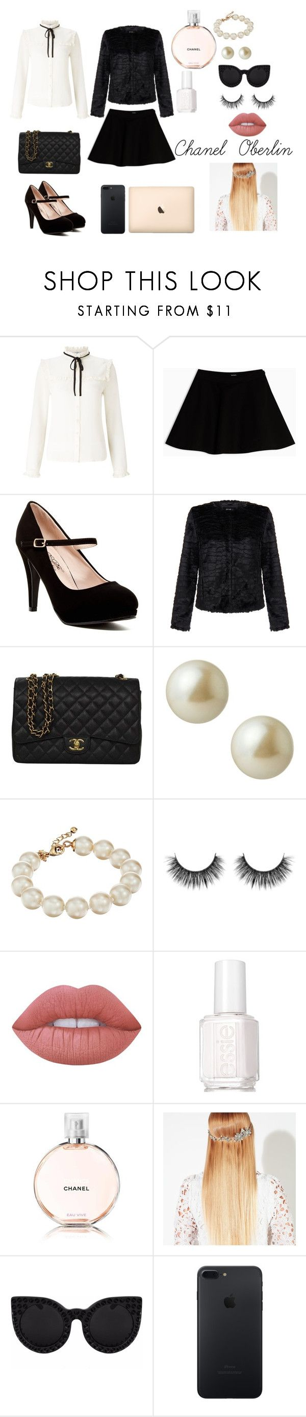 """Chanel Oberlin"" by xxxjazzyxxx01xxx ❤ liked on Polyvore featuring Lipsy, Max&Co., Unreal Fur, Chanel, Carolee, Kate Spade, Lime Crime, Essie, John Lewis and Delalle"