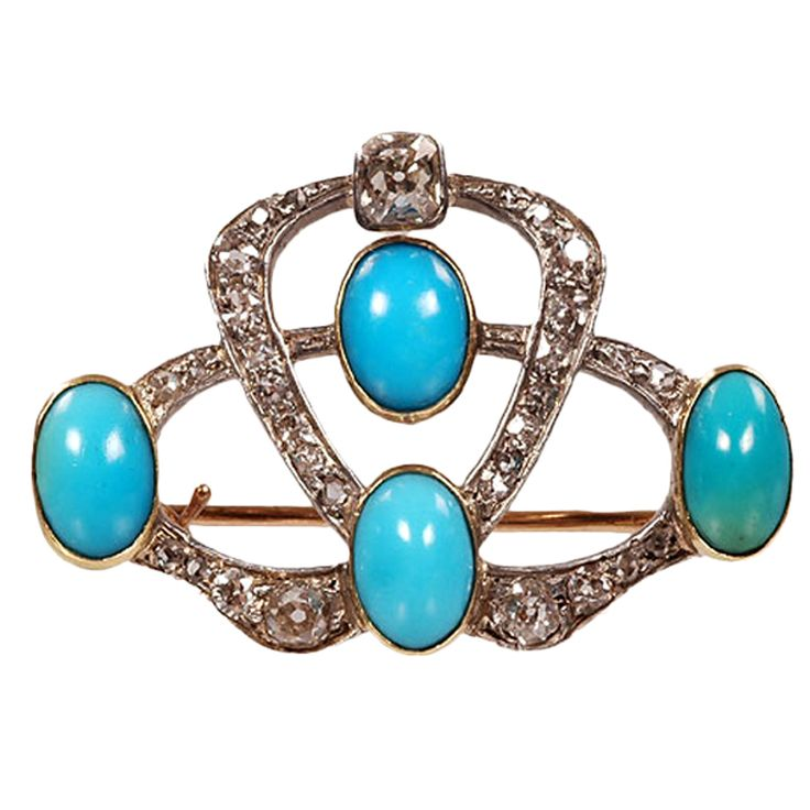 """FABERGE Brooch by OSCAR PIHL  Russia  1887-1897  A Faberge gold, diamond and turquoise brooch, workmaster Oscar Pihl, Moscow, late 19th century. Pihl had a workshop in Moscow from 1887 - 1897 and produced mostly small jewelry items for Faberge. The stylized bow shape is set with diamonds and four oval cabochon Russian turquoise stones. Width: 1.25"""".    Price  $16,000    Condition*  Good given it's age.    Measurements  width/length: 1 1/4""""    Specifications  Materials/Techniques: Gold…"""