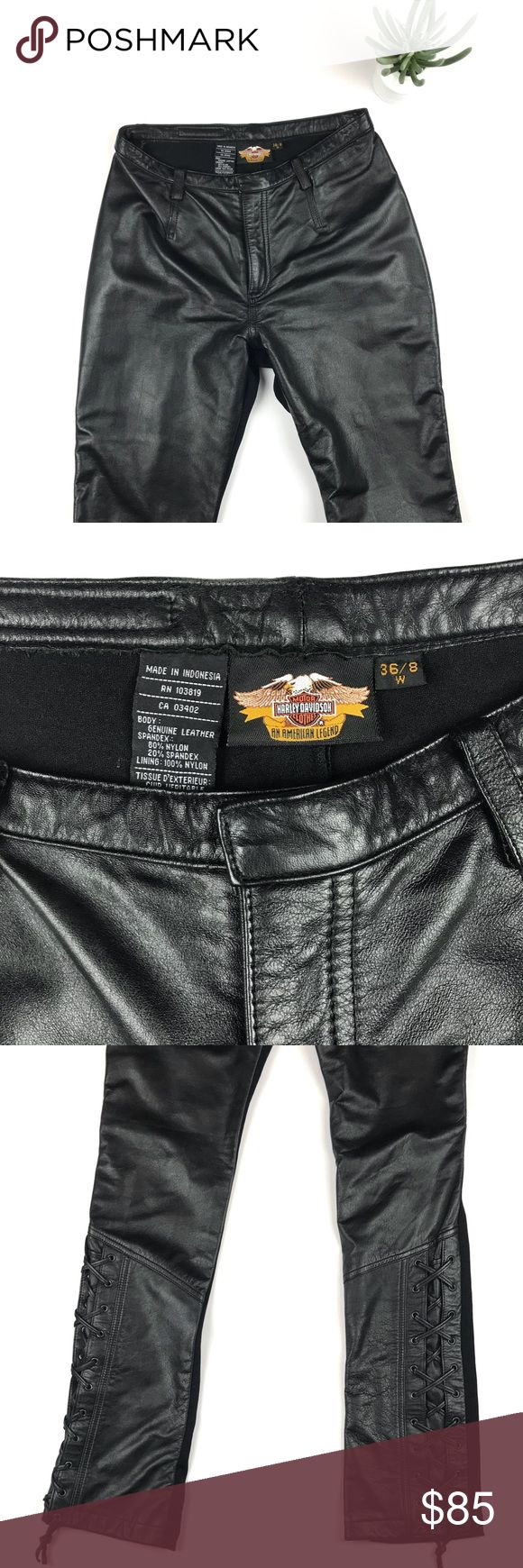 Harley Davidson Genuine Leather Pants 36/8 Harley Davidson Genuine Leather Pants 36/8!!! The details on this bad boy is INSANE!!! The. Pics speak for themselves 😍😍! I️ wish they were my size! Women's pants! The back is 80% nylon and 20% spandex so they will look great on the booty Harley-Davidson Pants