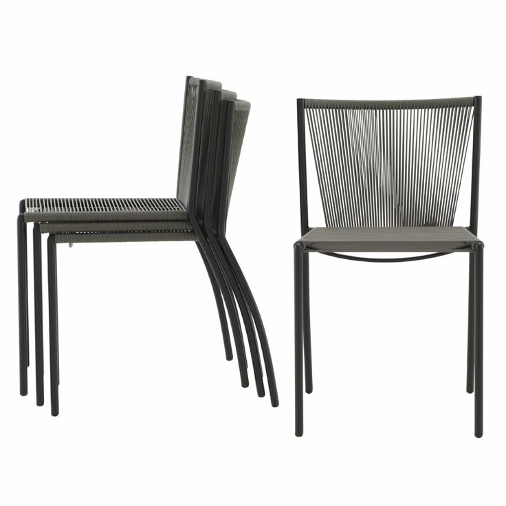 Stressa indoor/outdoor chair. Set of 4 stackable chairs. Weather proof UV treated polypropylene.Seat in mass dyed polypropylene cord.