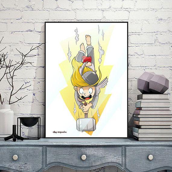 Kiddie Thor Print by chrismcquinlanart on Etsy