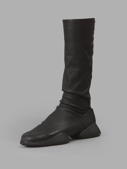 RICK OWENS Rick Owens X Adidas Women'S Black Stretch Runner Boot Sneakers. #rickowens #shoes #sneakers
