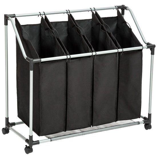 TecTake wassorteerder - wasmand verrijdbaar - 4 aparte waszakken - 401441