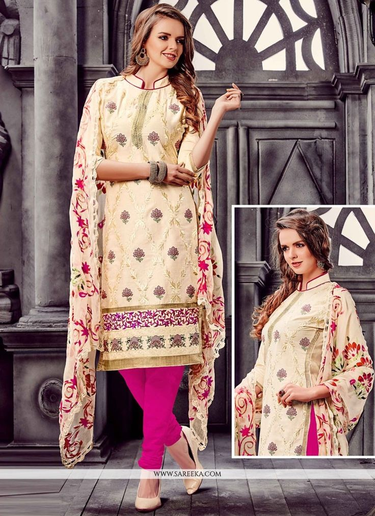 Be the sunshine of anyone's eyes dressed in such a interesting cream and hot pink cotton   churidar designer suit. The embroidered work looks chic and ideal for {occassion}. Comes with matching bott...