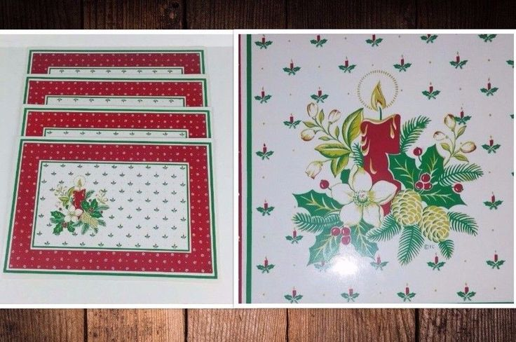 Placemats Christmas Holiday Vinyl Set of 4 Candle Holly Flower Town & Country  #TownCountry
