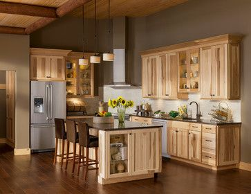 The Lodge Look: Rustic charm of Shorebrook Hickory - rustic - shelf cabinet on end of island.........B