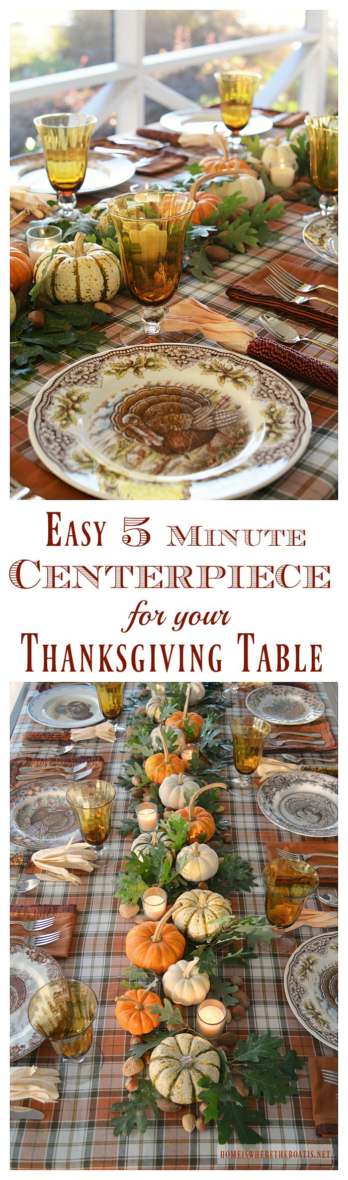 Create a natural centerpiece for your Thanksgiving table in 5 minutes! | homeiswheretheboatis.net  OMGEEE! I love the setting with all the different turkey plates!!!