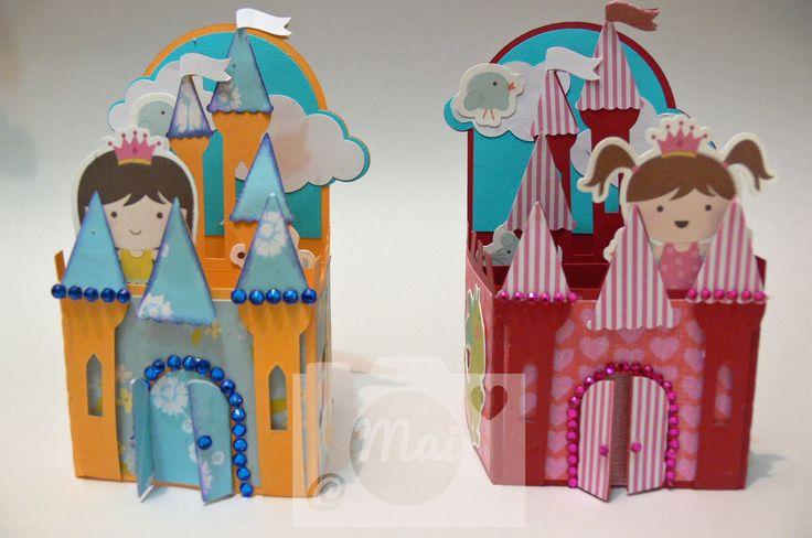 Tarjetas de castillo en 3D, de SVG Cuts, con diseños de Imaginisce y Mis Kate Cuttables.
