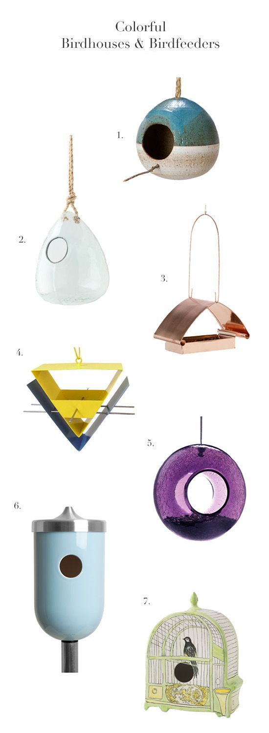 Garden Obsession: Colorful Birdhouses & Birdfeeders on @Gayle Robertson Roberts Merry Homes and Gardens