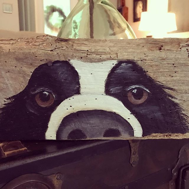 I always feel like somebody's watching me.... #barnwood #reclaimedwood #rustic #dogpainting #woodart