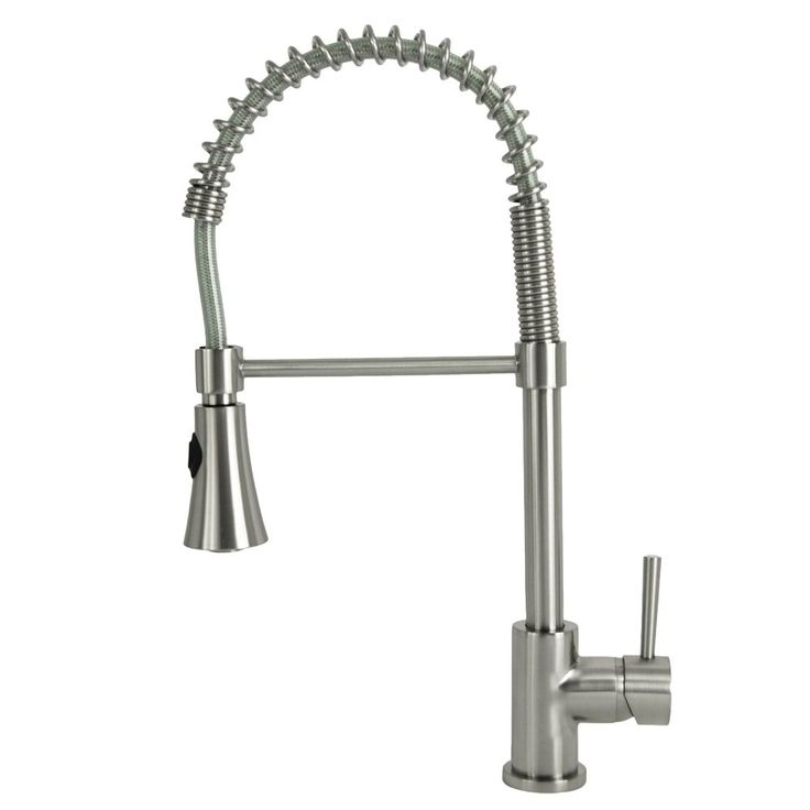 Update your kitchen with designer style and gourmet function with this modern residential coil spring kitchen faucet. This faucet features flared 2-function spray head and a coil spring neck for ease of use when cleaning large cookware.