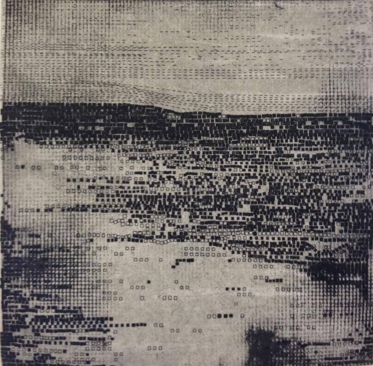 Modern Intaglio Print: Strata in Black