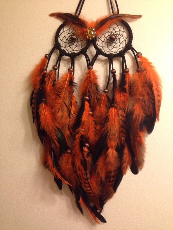 Small Owl Dream Catcher by VictoriasIndicaDream on Etsy                                                                                                                                                                                 Más