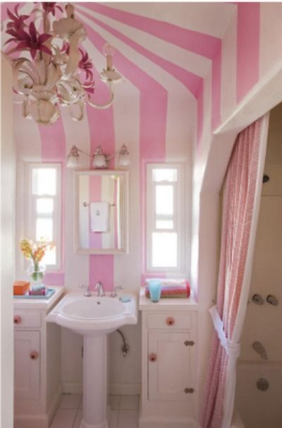 Little Girls Pink Bathroom. The Ceiling Is So Fantastic With The Bold  Circus Tent Stripes. Part 75