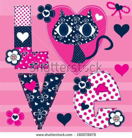 love cat vector illustration - stock vector