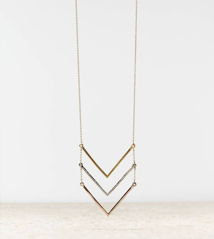 Gold/gem/rose gold chevron necklace