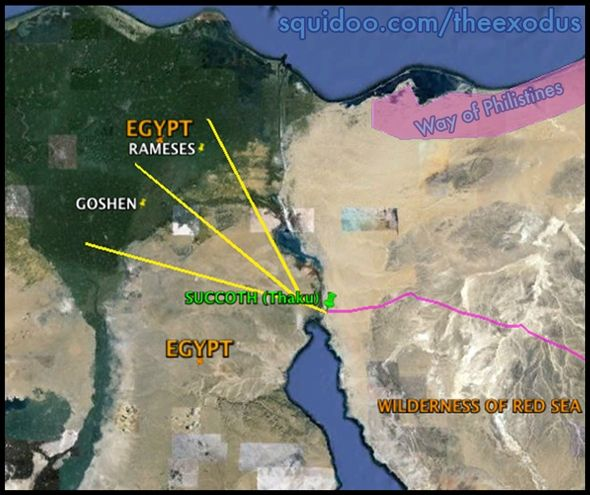 Evidence for the Exodus trail out of Egypt. Straight ...