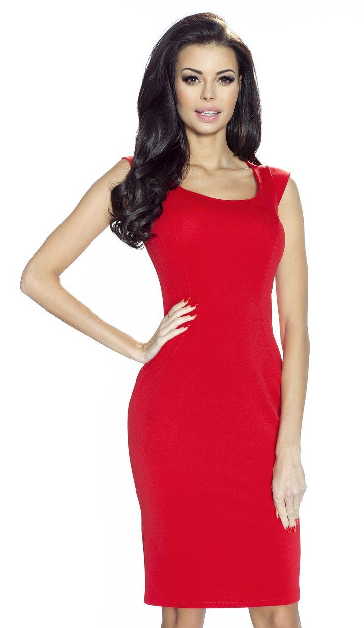 Elegancka klasyczna sukienka z pięknym dekoltem w kolorze czerwieni  -Domenica