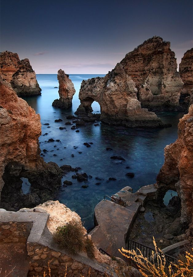 Dark Knights. One of the many sea arches that make the Portugal coastline of the Algarve so beautiful.