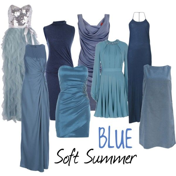 """Soft Summer Blue"" by colorazione on Polyvore love these blues, not necessarily the styles..."