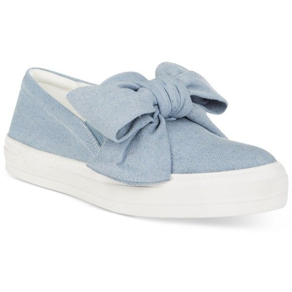 Nine West Onosha Bow Flatform Sneakers ($79) ❤ liked on Polyvore featuring shoes, sneakers, blue denim, denim sneakers, flatform shoes, slip on shoes, blue sneakers and blue slip on shoes