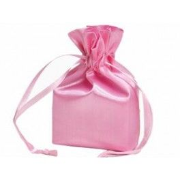 Pak met 12 satijnen giftbags 10 x 15 cm roze