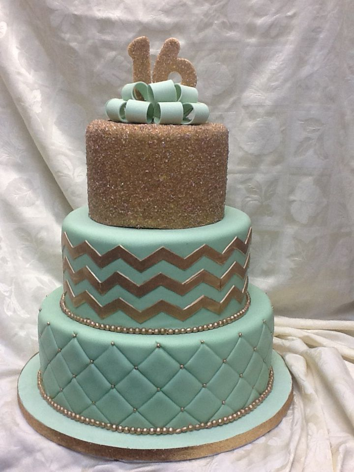Mint green and gold sweet 16 cake