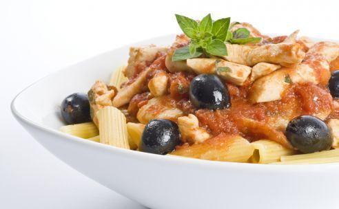 Pasta met champignons en doperwten