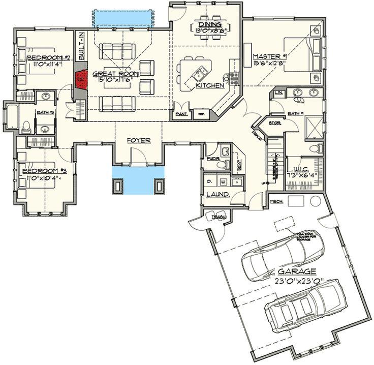 Attractive Craftsman Home Plan - 54205HU | 1st Floor Master Suite, Bonus Room, CAD Available, Craftsman, Mountain, Northwest, PDF, Photo Gallery, Split Bedrooms | Architectural Designs