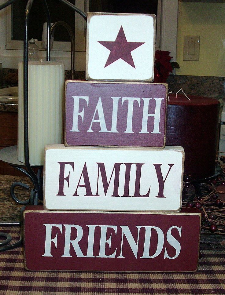 Primitive Painted Blocks | Faith Family Friends Primitive Country by BedlamCountryCrafts