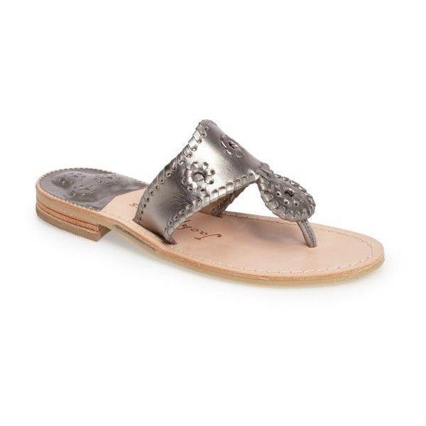 Women's Jack Rogers Hamptons Metallic Flip Flop ($118) ❤ liked on Polyvore featuring shoes, sandals, flip flops, pewter, metallic shoes, jack rogers flip flops, pewter sandals, pewter shoes and jack rogers