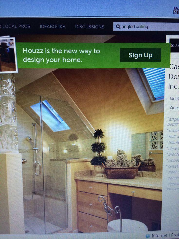Bathroom Shower Area Custom A Frame And Slanted Ceiling