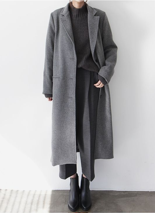 Chic Style - layered grey outfit with long wool coat