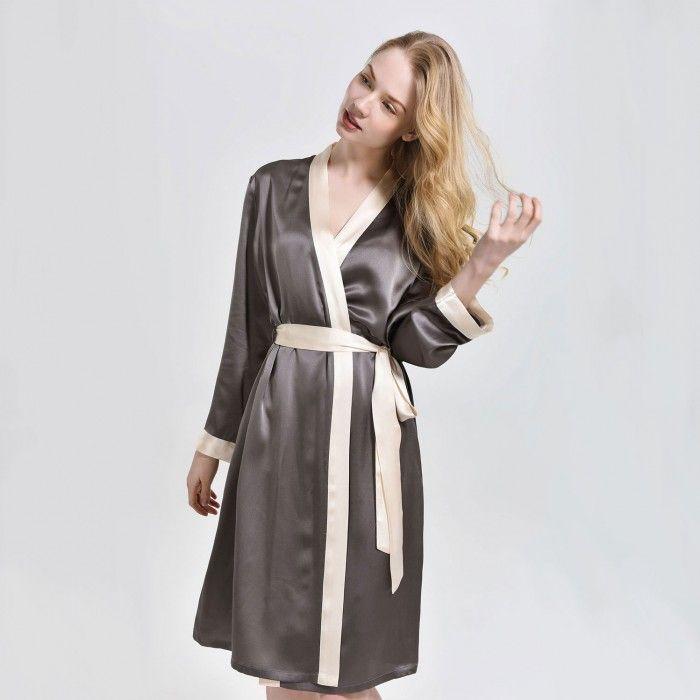 Ladies Silk Dressing Gown Bathrobe Plus Size - OOSilk