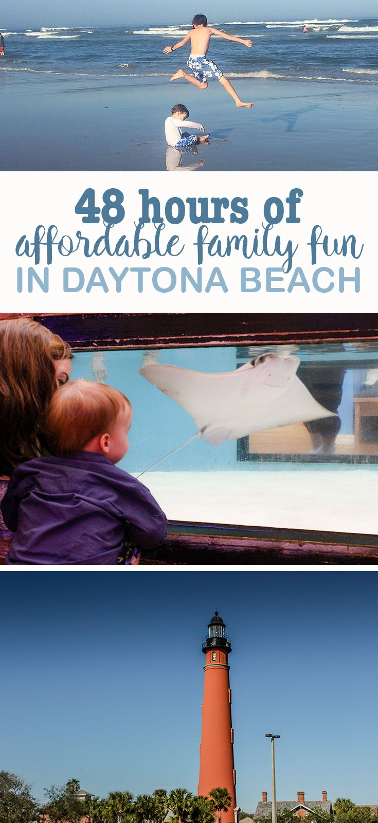 Looking for a great family beach destination that doesn't cost a fortune? You'll love a Daytona Beach family vacation. We spend 48 hours there and enjoyed a lot of affordable family fun in Daytona Beach.   48 hours of affordable family fun in Daytona Beach http://eatdrinkandsavemoney.com/2017/02/24/daytona-beach-family-vacation/