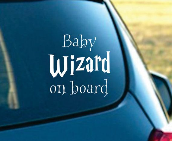 Baby Wizard on board Vinyl Car Decal by NothinbutVinyl on Etsy