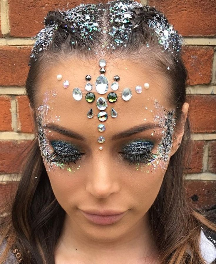 Silver glitter and jewels
