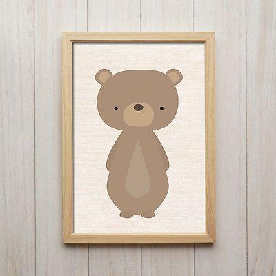 Details zu Kinderzimmer Bilder Set Wald Tiere Bär Fuchs
