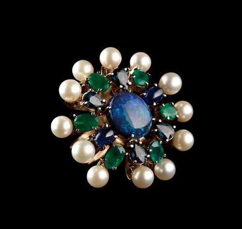 MEDUSA, 14 k Yellow Gold, Emeralds, Sapphires, Opal, Pearls, Cabochon,